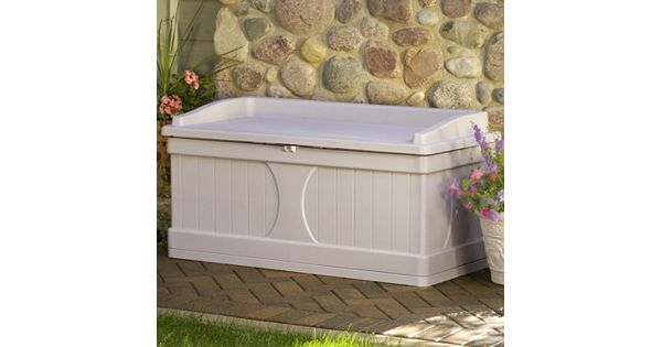 Suncast Flat Top 99 Gallon Storage Box Outdoor