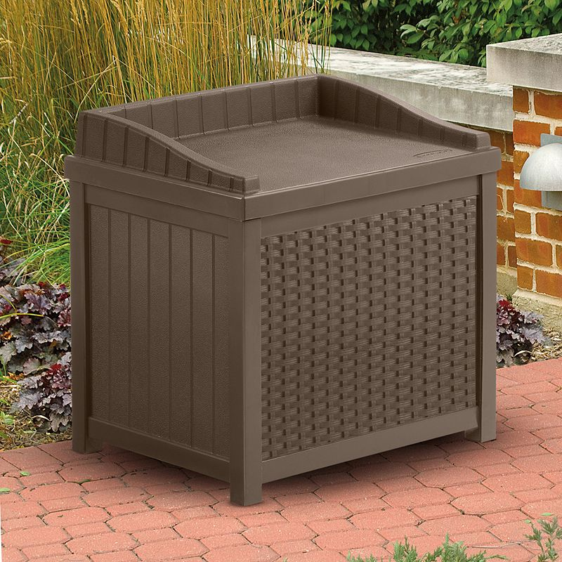 Suncast 22-Gallon Wicker Storage Seat - Outdoor (Brown)
