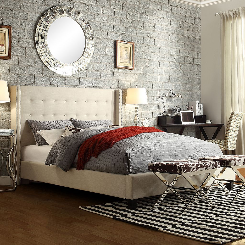 HomeVance Simone Wingback Bed - Queen