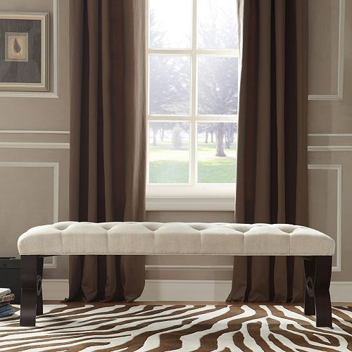 HomeVance Cambrie Tufted Linen Bench