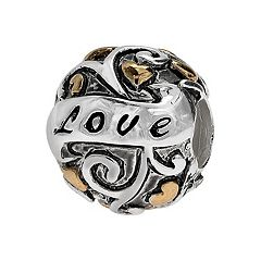 Individuality Beads Sterling Silver & 14k Gold Over Silver 'Love' Bead