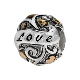 """Individuality Beads Sterling Silver & 14k Gold Over Silver """"Love"""" Bead"""