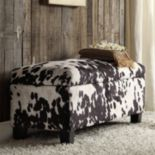 HomeVance Annabelle Cowhide Print Storage Bench
