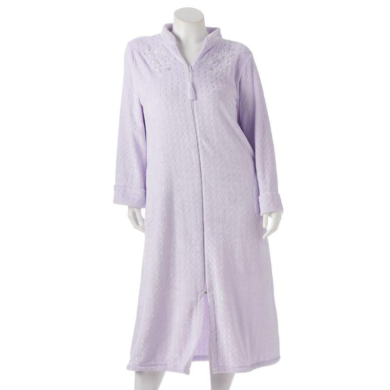 Miss Elaine Essentials Jacquard Fleece Robe - Women's Plus Size