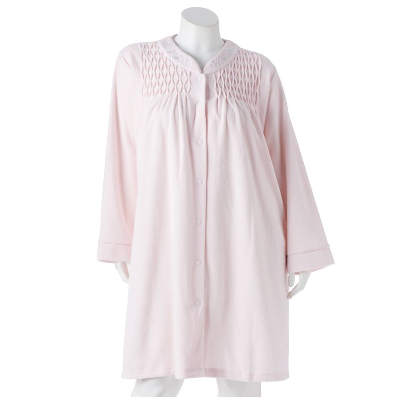 Miss Elaine Essentials Smocked Terry Robe - Women's Plus Size