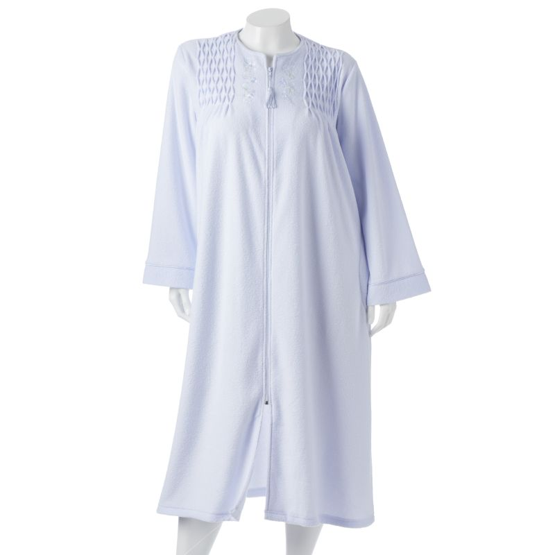 Miss Elaine Essentials Smocked French Terry Robe - Women's Plus Size