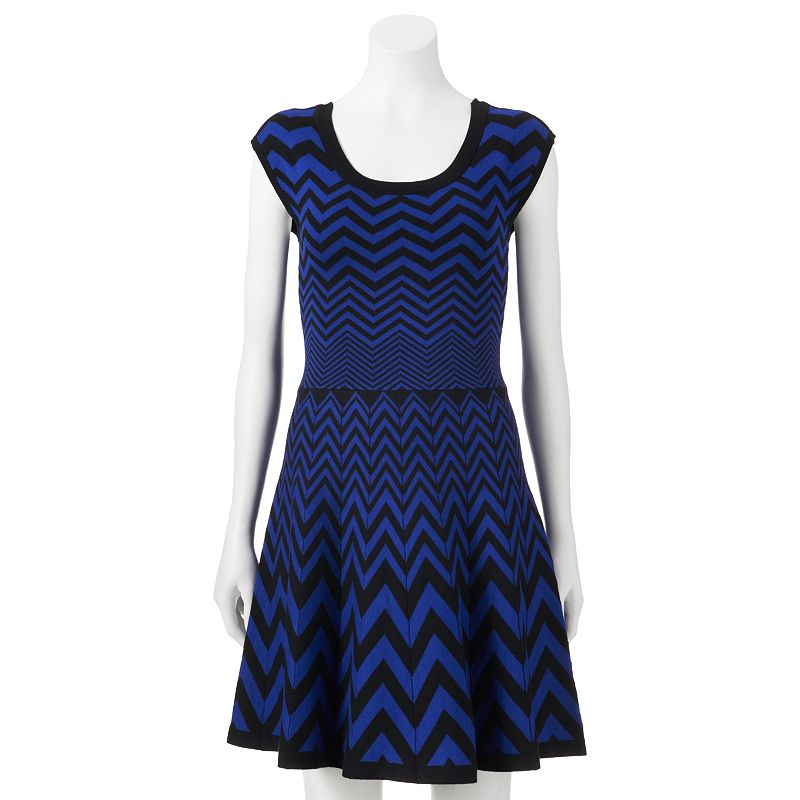 Candie's Chevron Double Knit Sweater Dress (Blue)