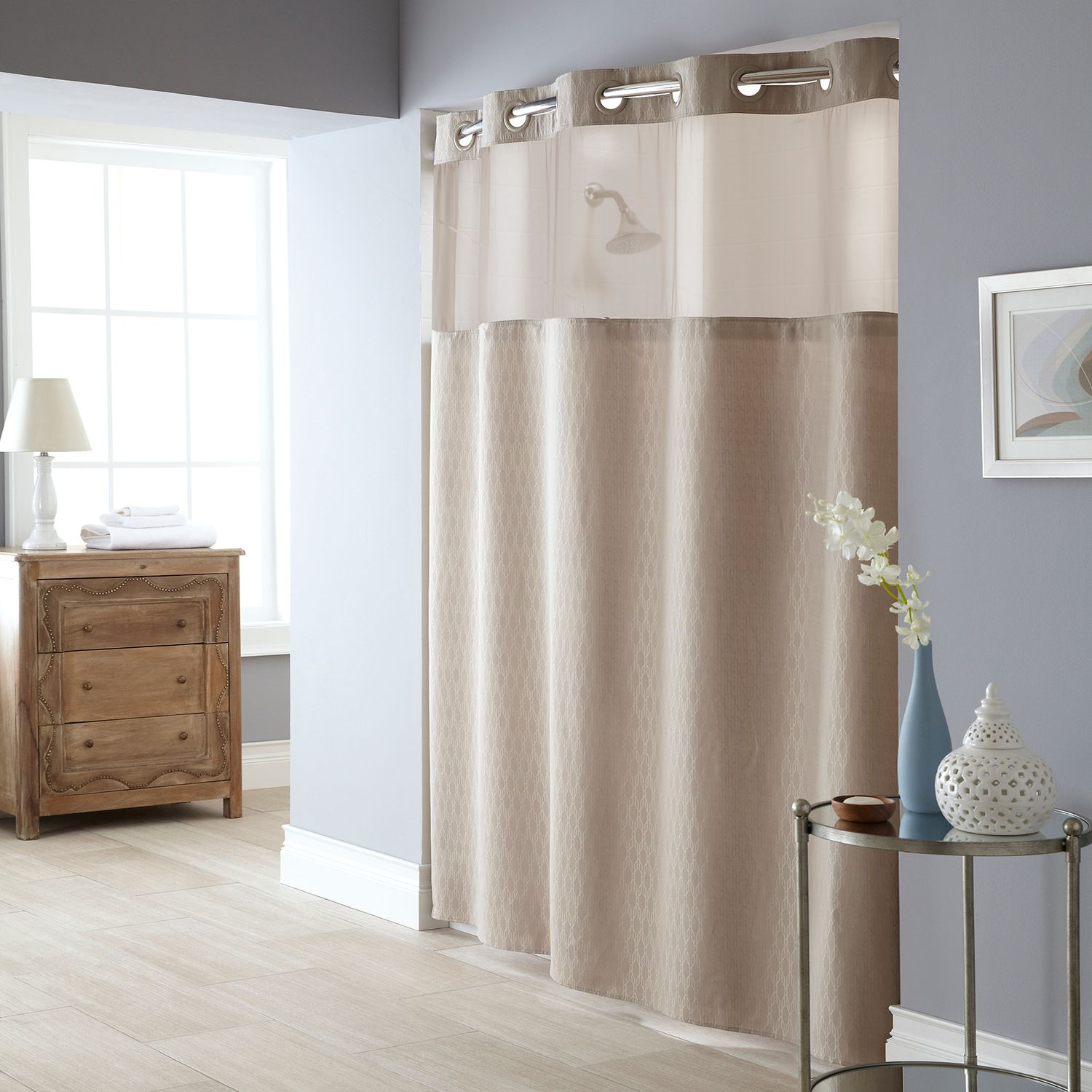 hookless escape fabric shower curtain and shower curtain lin