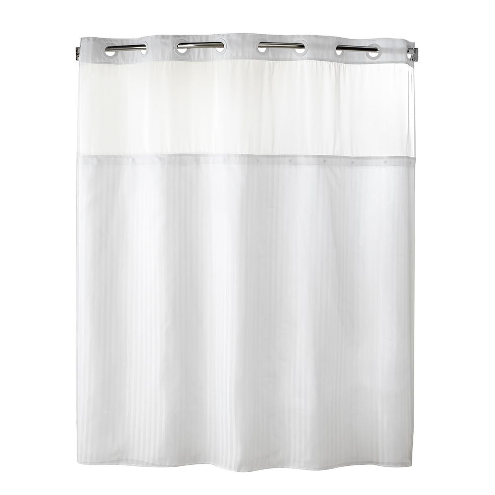 Hookless shower curtain with snap liner - Fabric Shower Curtain Liner Set