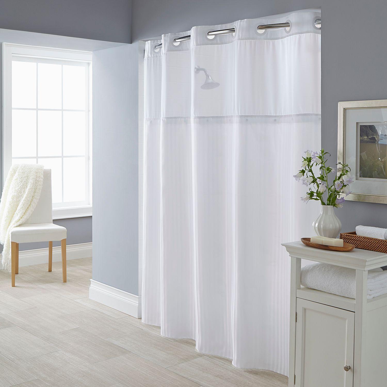 Fabric Shower Curtain U0026 Liner Set. White Beige
