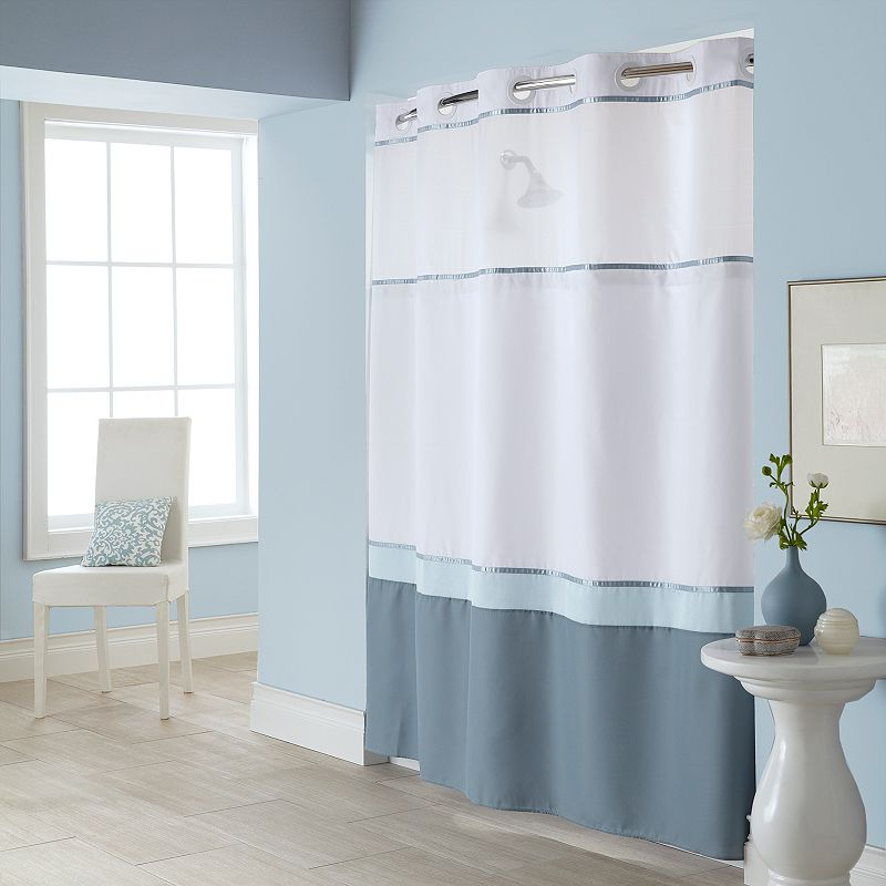 windowpane 2 pc fabric shower curtain liner set