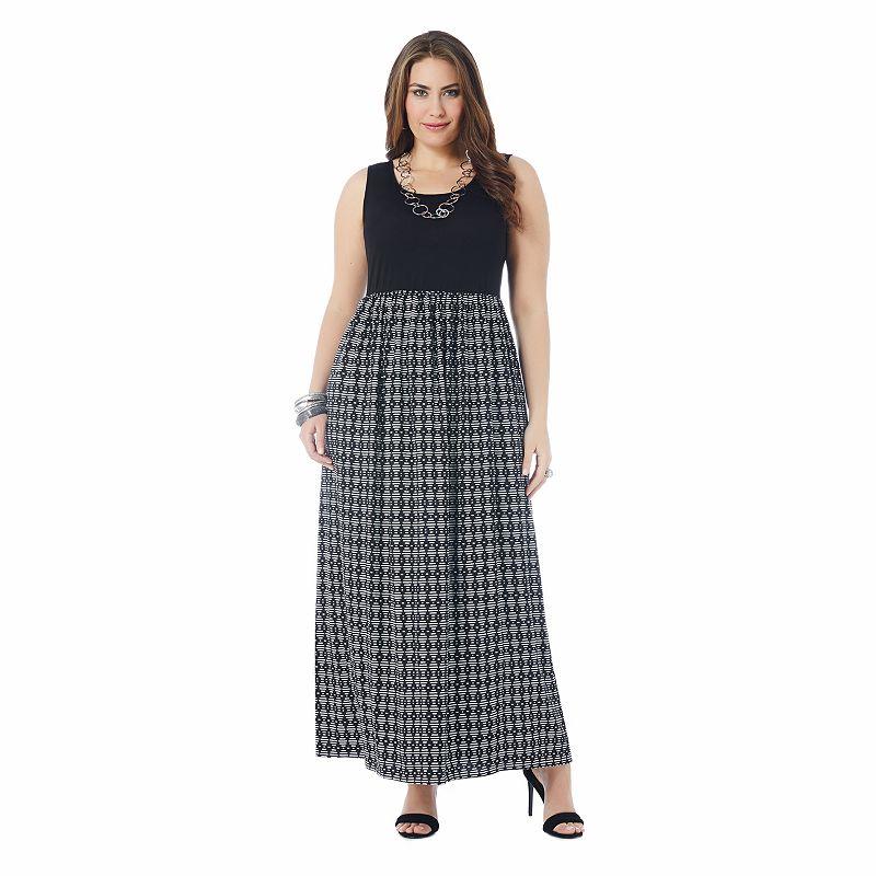 daisy fuentes Mixed-Media Maxi Dress - Women's Plus