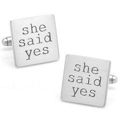 Wedding Series 'She Said Yes' Cuff Links