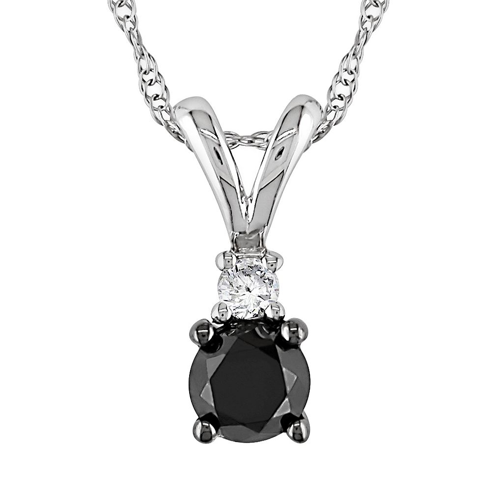 10k White Gold 1/2-ct. T.W. Black & White Diamond Pendant
