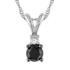 Stella Grace 10k White Gold 1/2-ct. T.W. Black and White Diamond Pendant