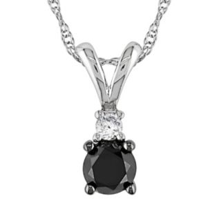 Stella Grace 10k White Gold 1/2-ct. T.W. Black and White Diamond Pendant