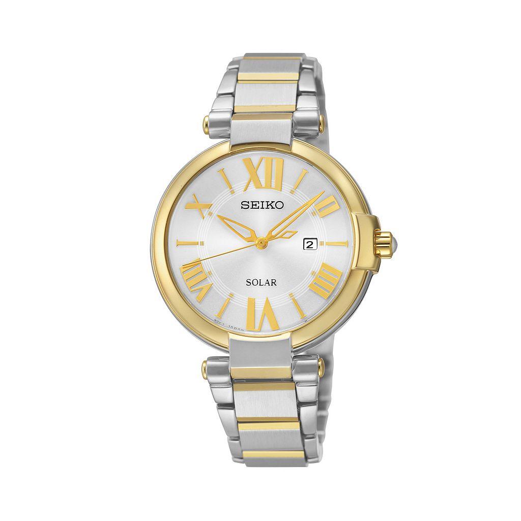 Seiko Women's Two Tone Stainless Steel Solar Watch - SUT174