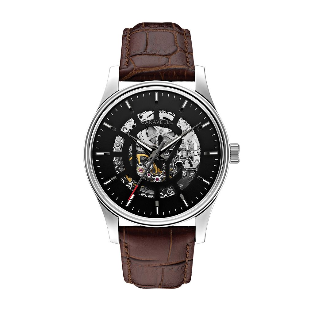 Caravelle New York by Bulova Men's Arnold Leather Automatic Skeleton Watch - 43A123
