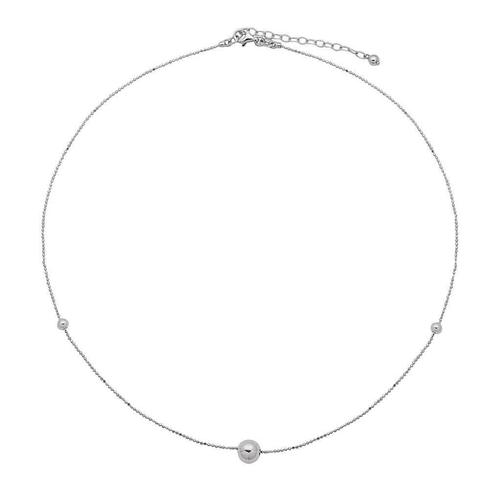 Sterling Silver Bead Station Necklace