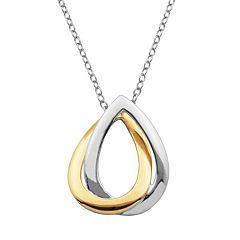 18k Gold Over Silver & Sterling Silver Interlocking Teardrop Pendant