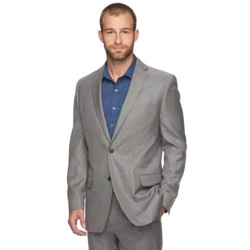 Marc Anthony Slim-Fit Plaid Gray Suit Jacket