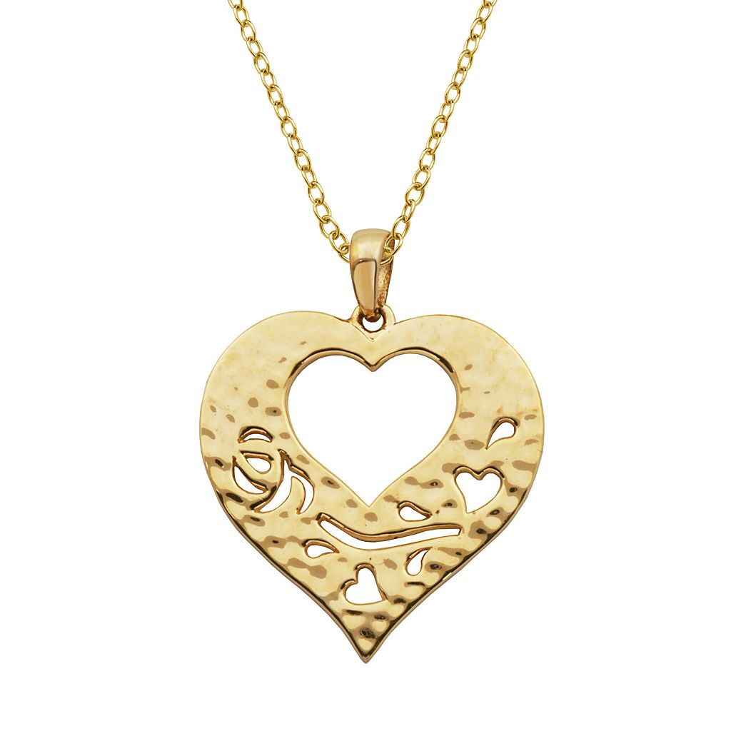 18k Gold Over Silver Hammered Heart Pendant