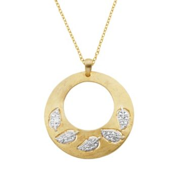 18k Gold Over Silver and Sterling Silver Diamond Accent Leaf Medallion Pendant