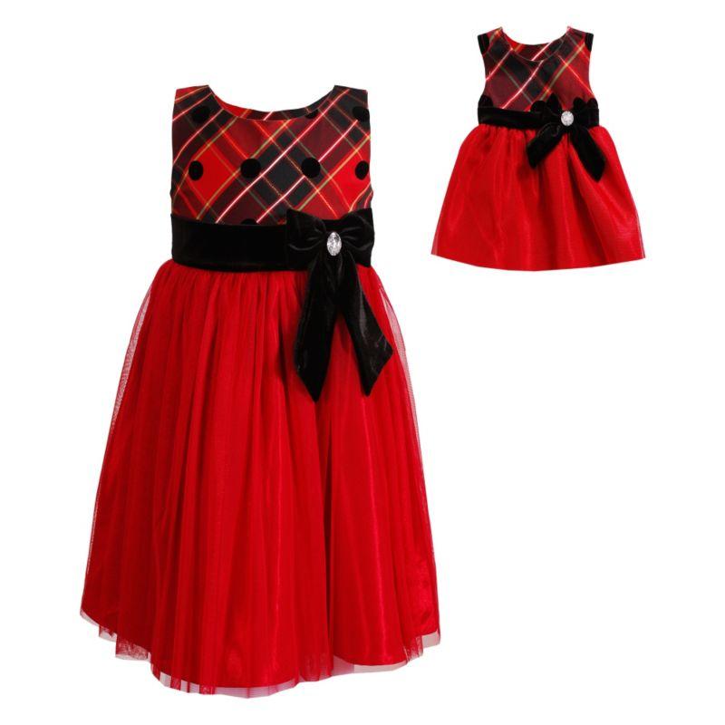 Dollie amp me flocked plaid dress set girls 7 16 red