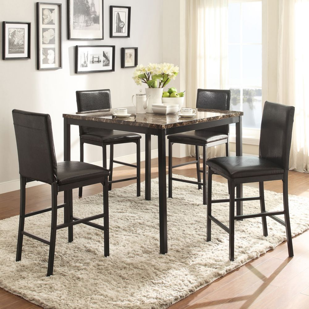catania 5 piece dining table counter chair set homevance catania 5 piece dining table counter chair set