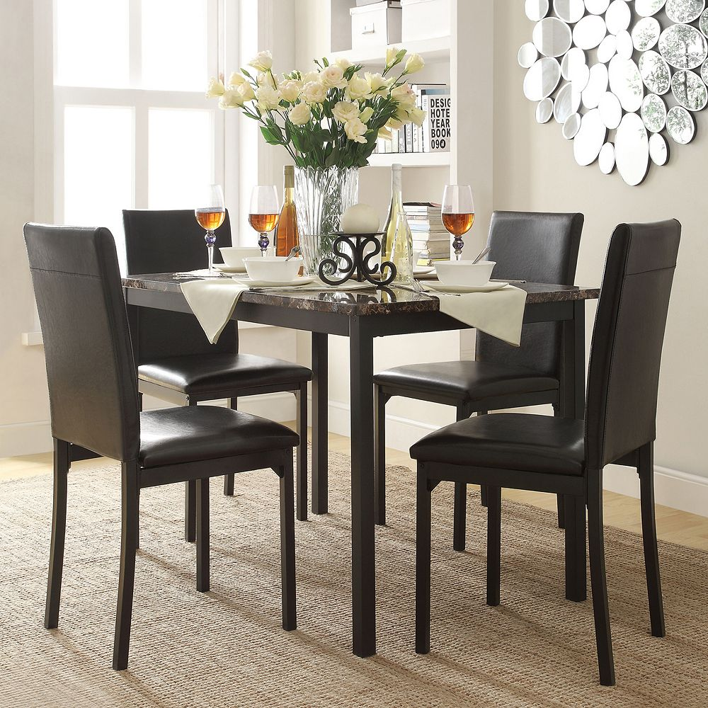 HomeVance Catania 5 Piece Dining Table Chair Set