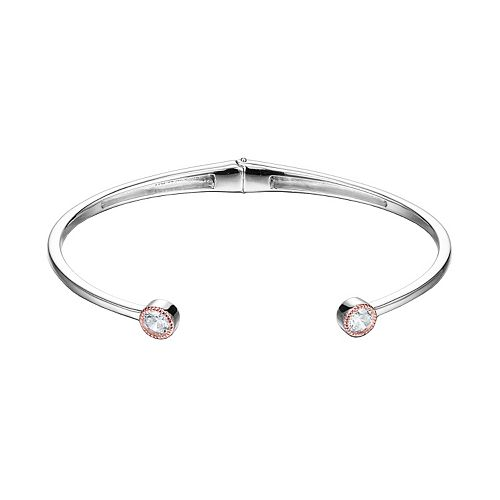 18k Rose Gold Over Silver & Sterling Silver Cubic Zirconia Cuff Bracelet