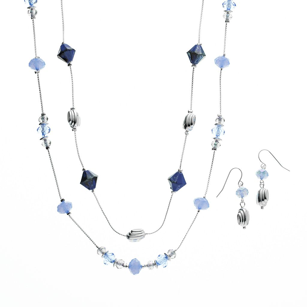 Bead Long Multistrand Necklace & Drop Earring Set