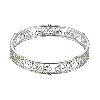 18k Gold Over Silver & Sterling Silver Scrollwork Bangle Bracelet