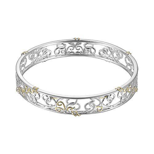 18k Gold Over Silver & Sterling Silver Scrollwork Bangle Bracelet