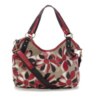 AmeriLeather Amelia Leather Floral Convertible Tote