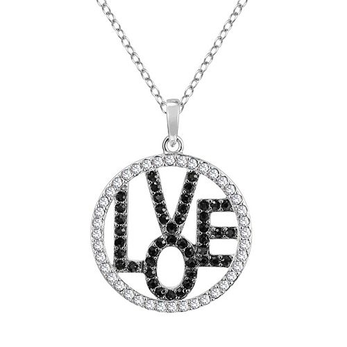 """Sterling Silver Crystal """"Hope"""" Circle Pendant"""