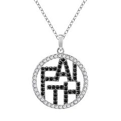 Sterling Silver Crystal 'Faith' Circle Pendant