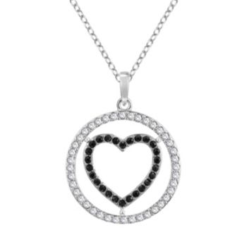 Sterling Silver Crystal Heart Circle Pendant