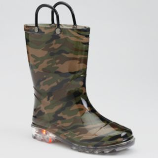 Western Chief Boys' Camouflage Light-Up Rain Boots