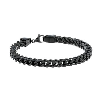 LYNX Black Ion-Plated Stainless Steel Foxtail Chain Bracelet - Men