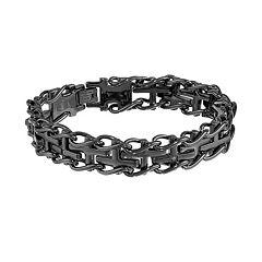 LYNX Black Ion-Plated Stainless Steel Diamond Accent Sideways Cross Railroad  Bracelet -  Men