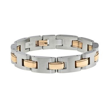 LYNX Two Tone Ion-Plated Stainless Steel H-Link Bracelet - Men