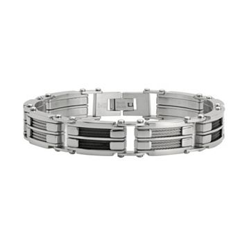 LYNX Two Tone Ion-Plated Stainless Steel Cable Link Bracelet - Men