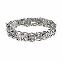 LYNX Stainless Steel Diamond Accent Sideways Cross Railroad Bracelet - Men