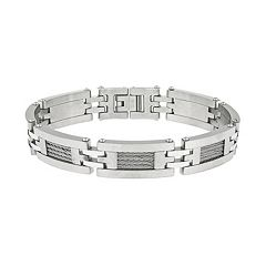 LYNX Stainless Steel H-Link & Cable Bracelet -  Men