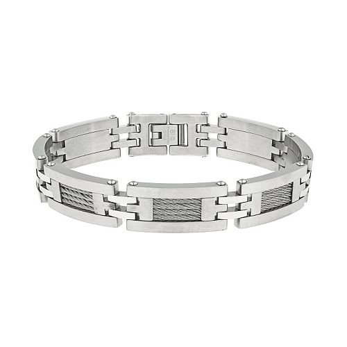 LYNX Stainless Steel H-Link & Cable Bracelet -  Men