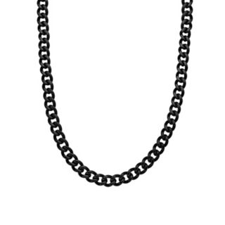 LYNX Black Ion-Plated Stainless Steel Curb Chain Necklace - 22 in. -  Men