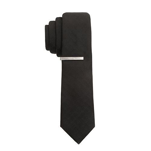 Men's Apt. 9® Extra-Slim Tipton Grid Tie & Bar Set