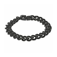LYNX Black Ion-Plated Stainless Steel Curb  Chain Bracelet -  Men