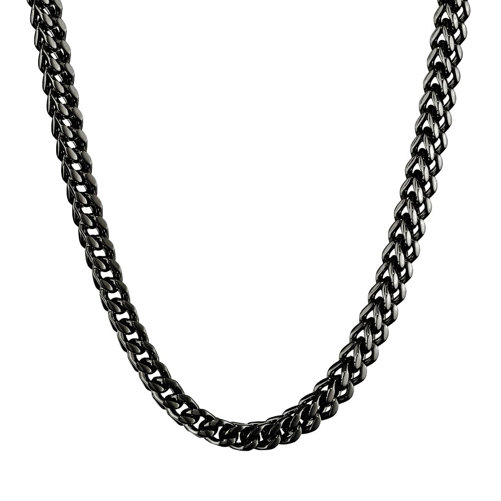 LYNX Black Ion-Plated Stainless Steel Foxtail Chain Necklace - 22 in. - Men
